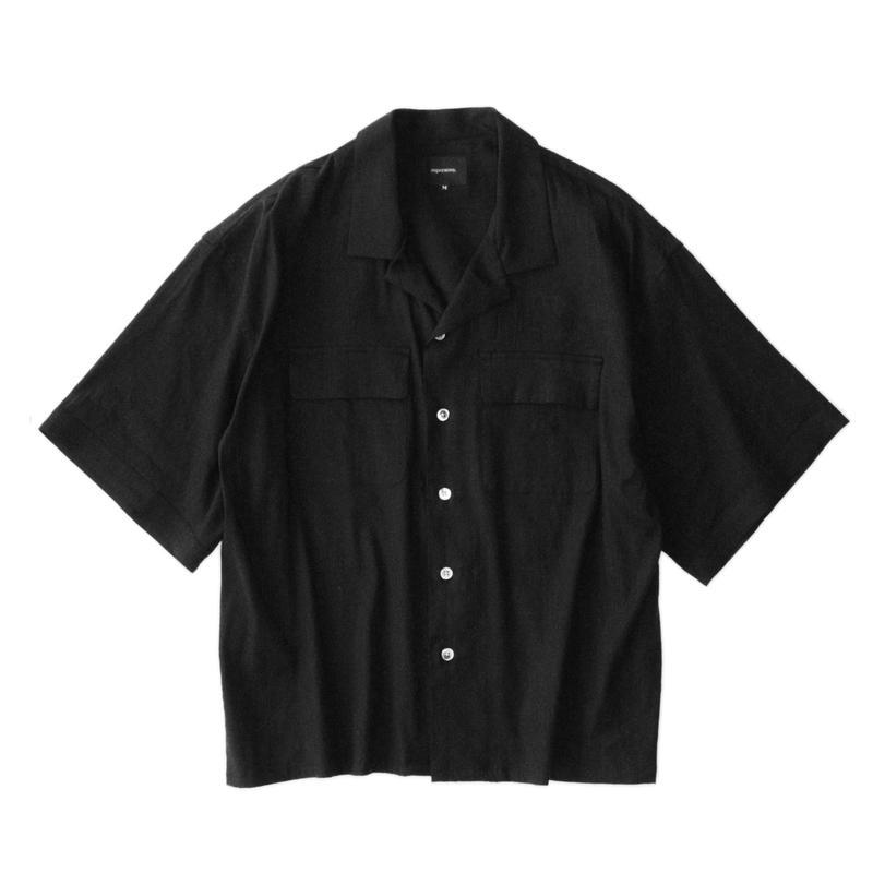 Double pockets open S/S shirt - Stretch linen / Black