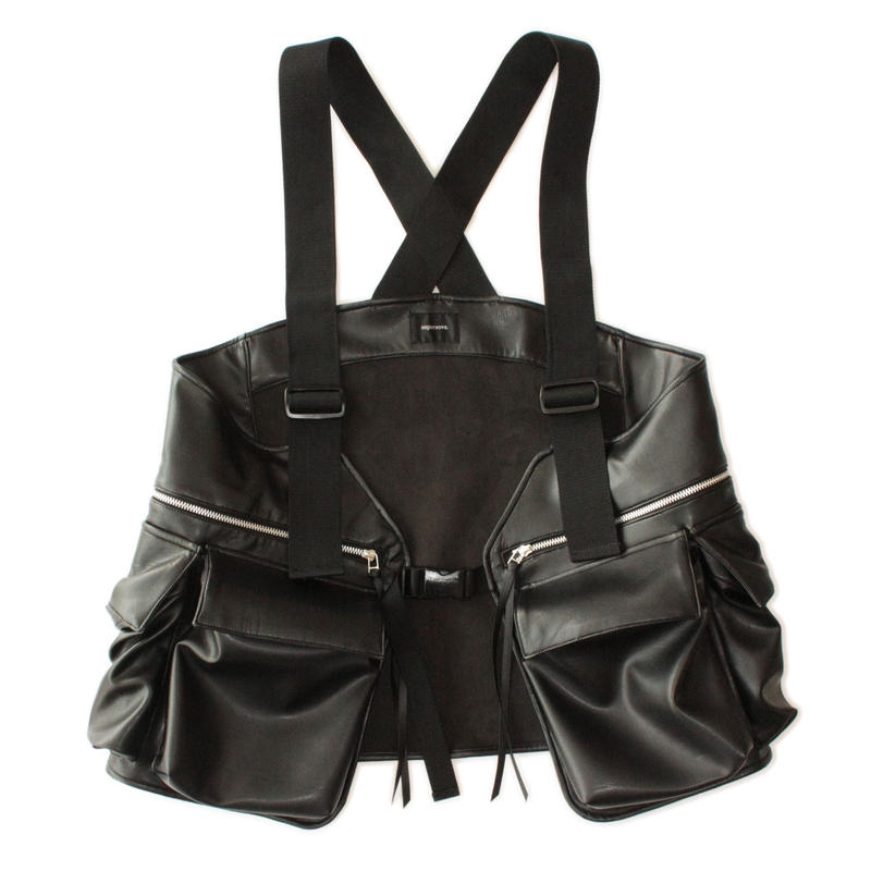 Field vest - Fake leather / Black