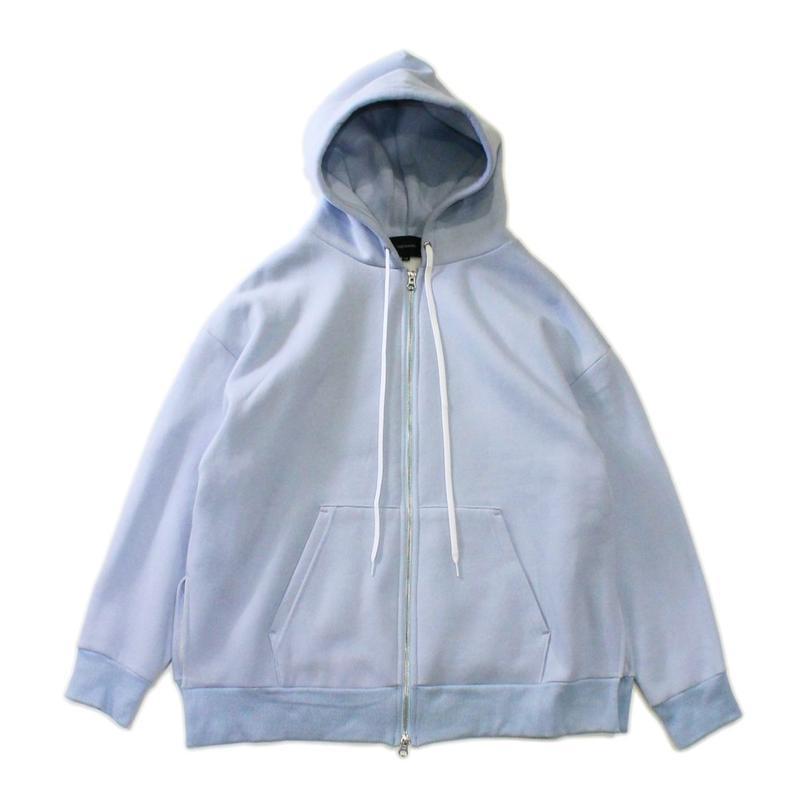 Slit big zip parka - Cotton wool sweat / Sax