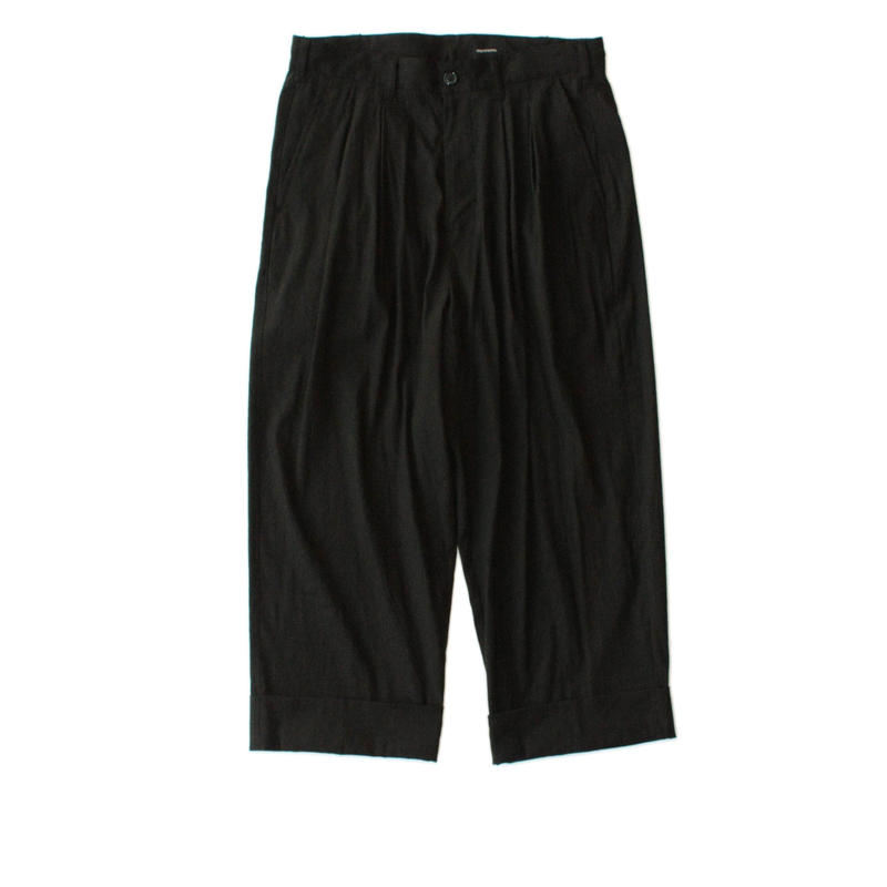Cropped wide trouser - Stretch linen / Black