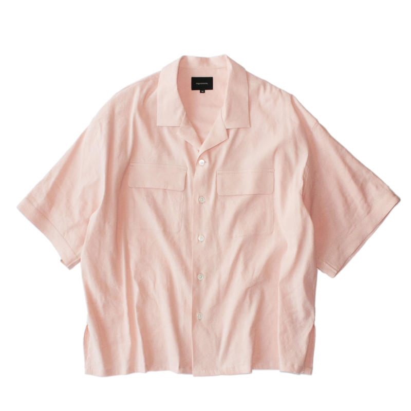 Double pockets open S/S shirt - Stretch linen / Pink