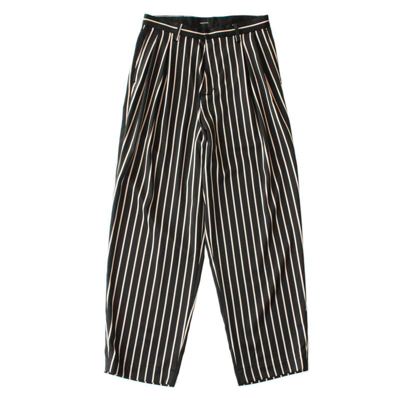 2 tucks wide trouser - Sateen stripe / Black x camel