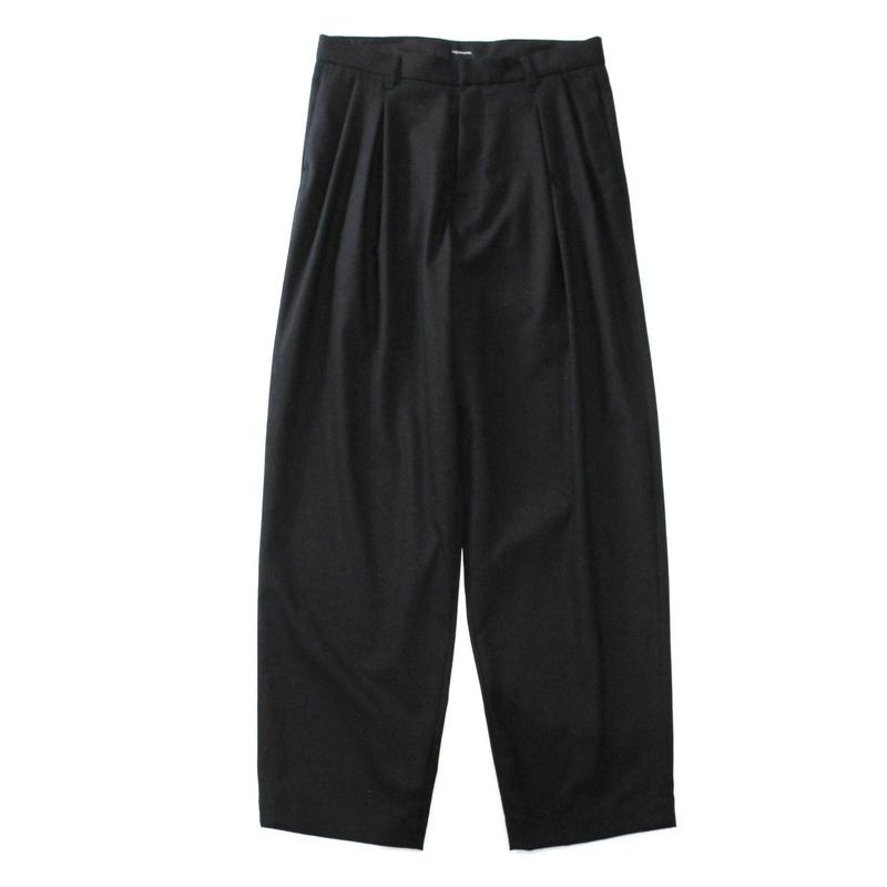 2 tucks wide trouser - Gabardine / Black