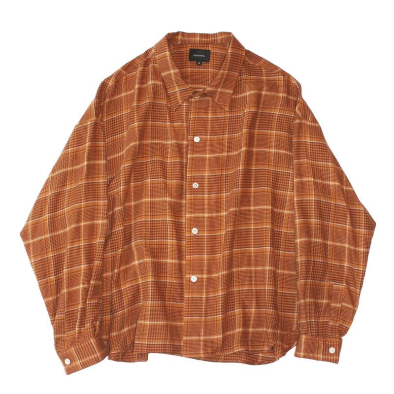 Big shirt 弐 - Tencel multi check / Orange