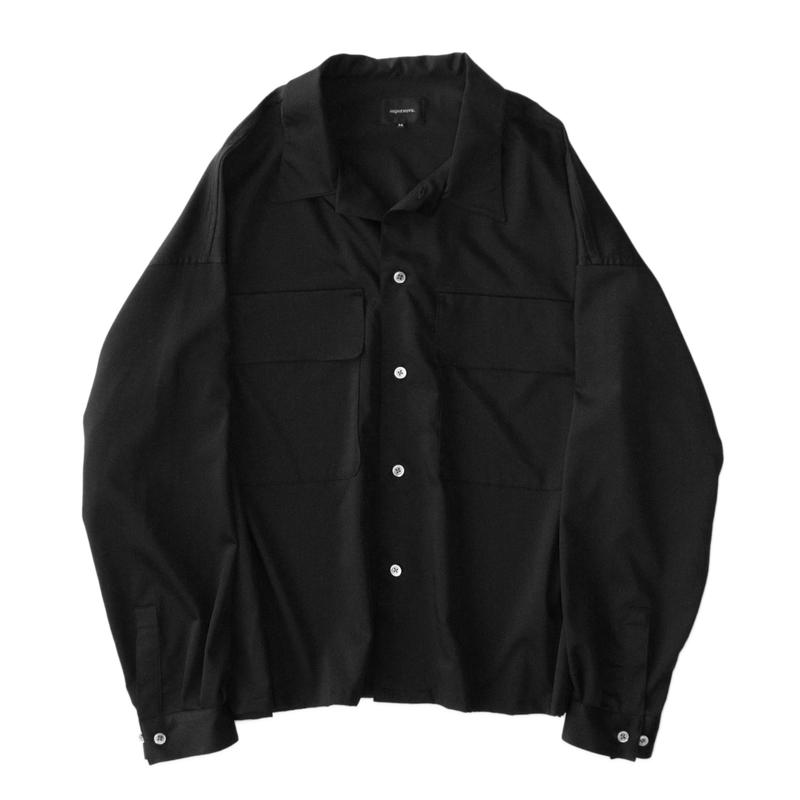 Double pockets big shirt - Cupra sateen / Black