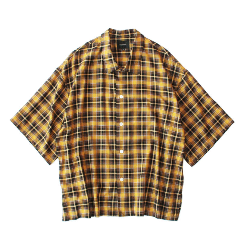 Square bottom S/S shirt - Check / Yellow