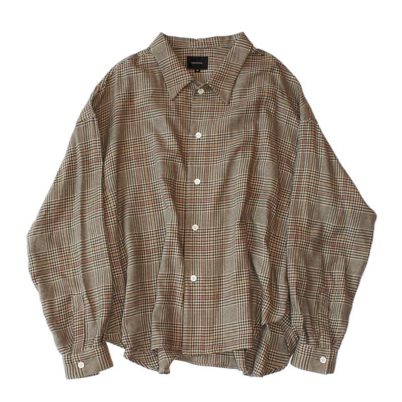 Big shirt 弐 - Tencel multi check / Beige