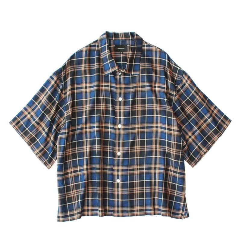 Square bottom S/S shirt - Check / Blue