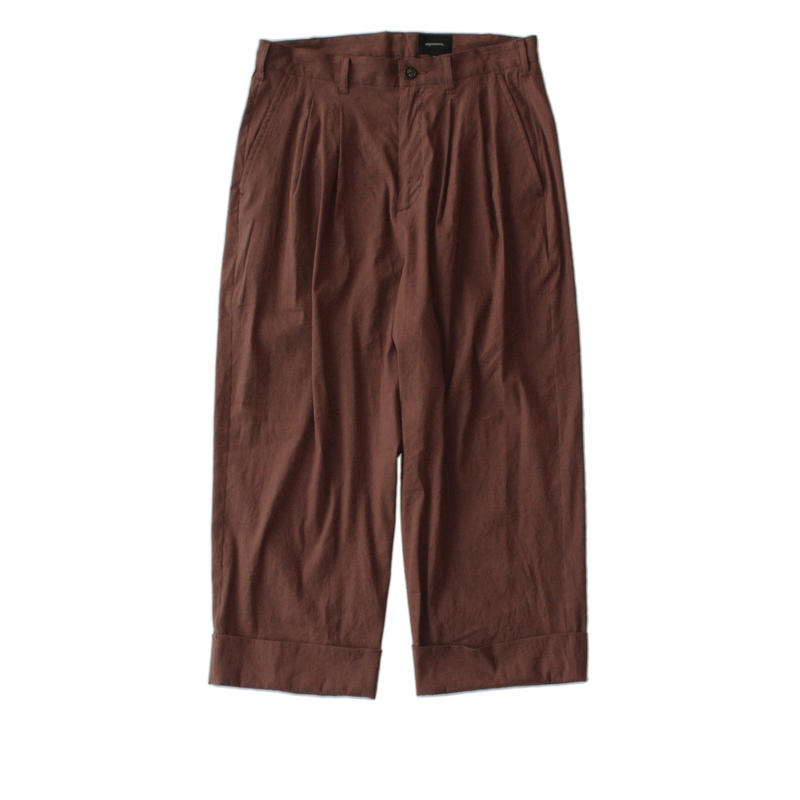 Cropped wide trouser - Stretch linen / Brown