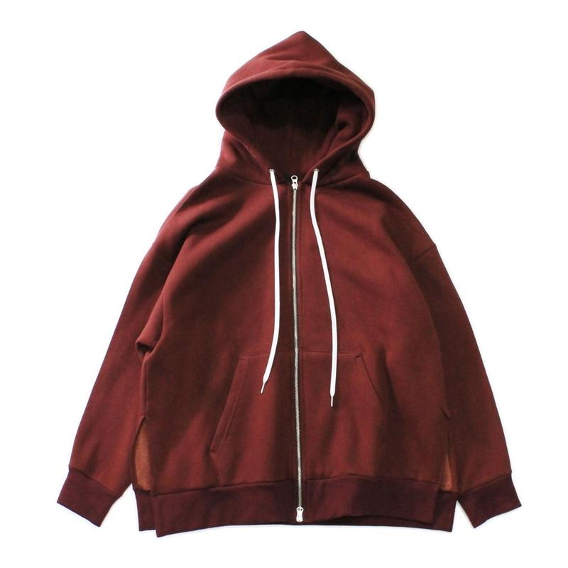 Slit big zip parka - Cotton wool sweat / Wine