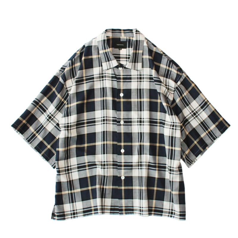 Square bottom S/S shirt - Check / Navy