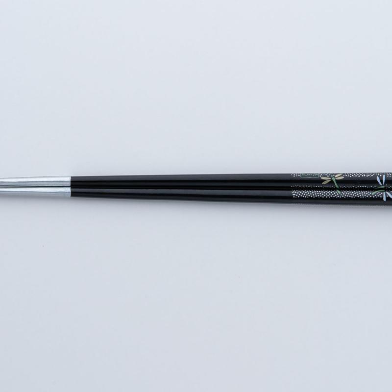 送料無料 サプリ箸 トンボ柄 黒 22.5cm