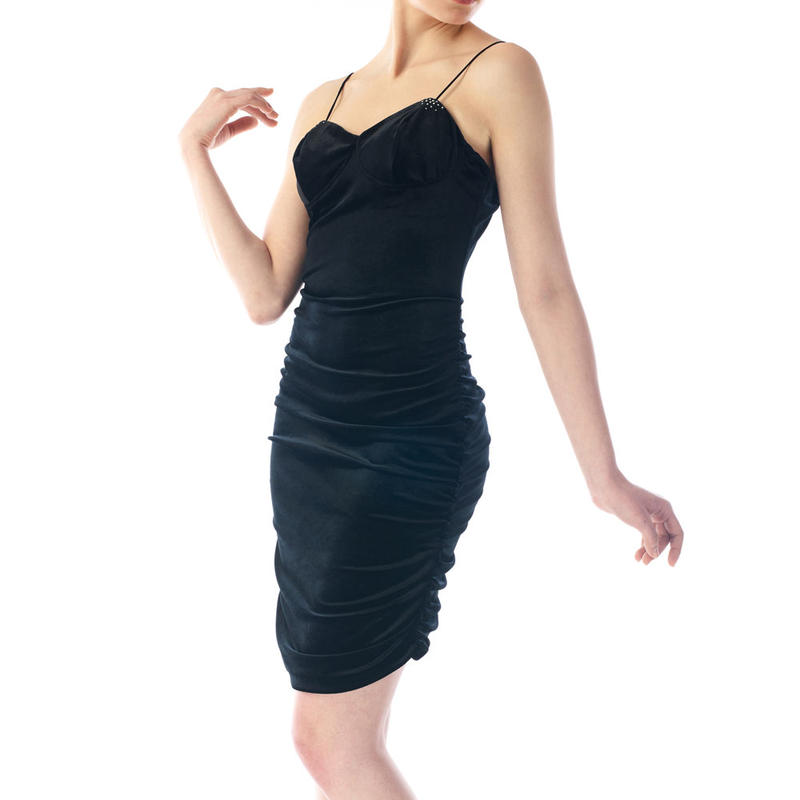 SPAGHETTI STRAP VELOUR LONG DRESS - BLACK
