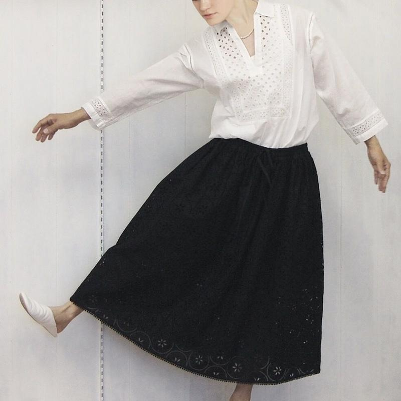 embroidery gathered skirt / 03-9207001