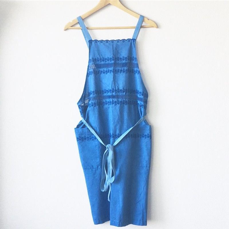 indigo-dyed border embroidered apron / 03-8110001