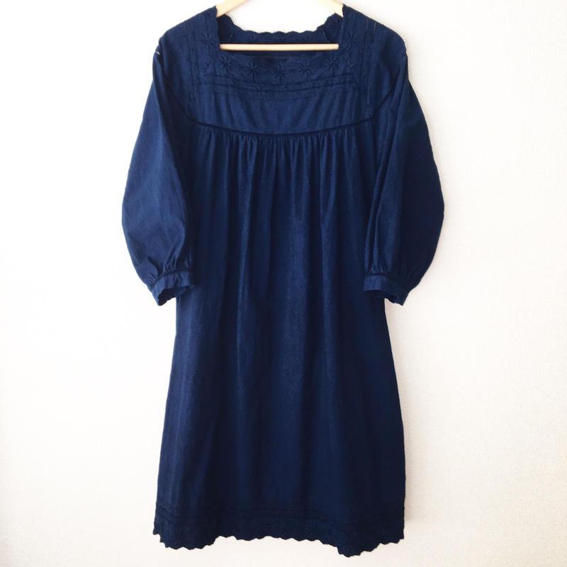 indigo-dyed square neck op / 03-6305008
