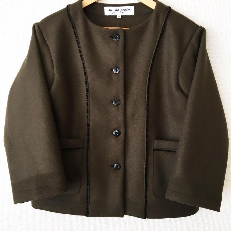 collarless melton jacket / 03-6304002