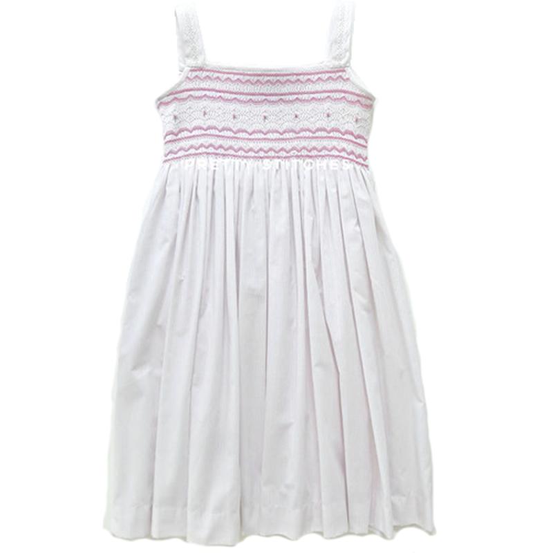 ピンクのラインと花模様のモッキング刺繍ワンピース(110-120cm)