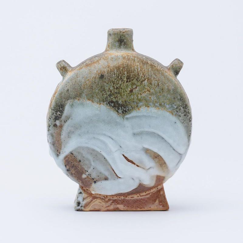 No.69:YOHEN SHINO Rectungular Vase「耀変志埜扁壷 (タイコ)」