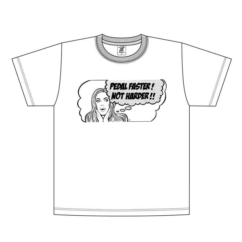 「PEDAL FASTER! NOT HARDER!!」Tee | white