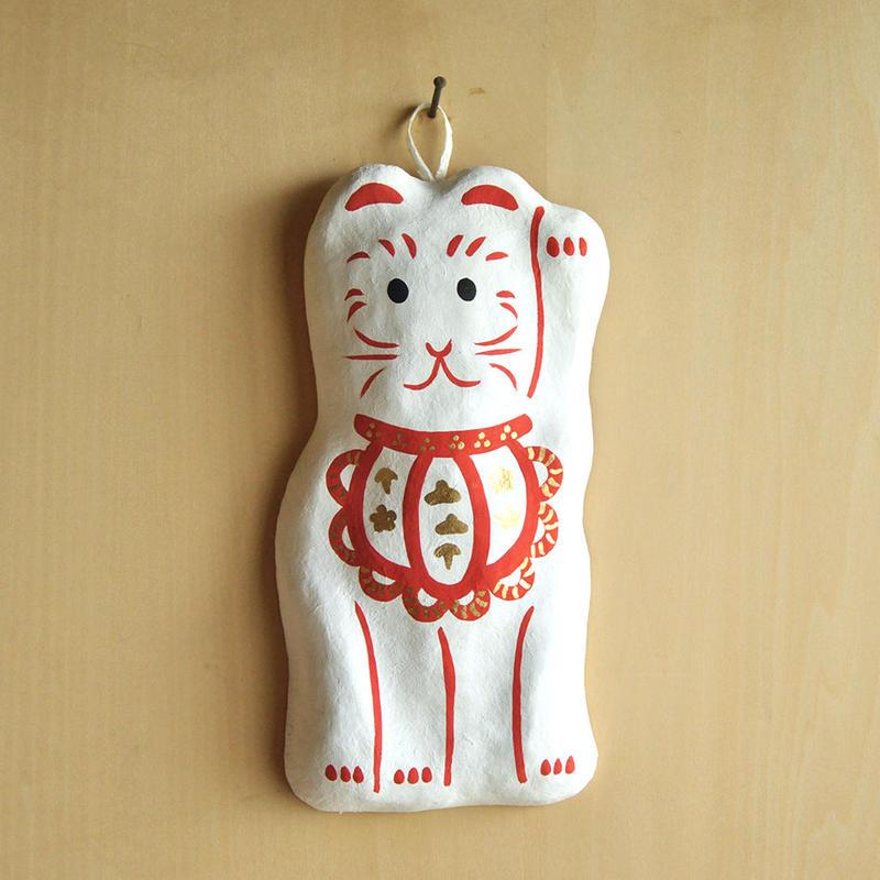 壁飾り 招き猫 白