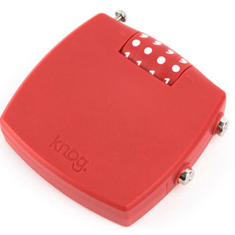 Knog  MILK MAN COMBO RED 4桁ダイヤルタイプのポリカーボネイトボディのスチールケーブルロック