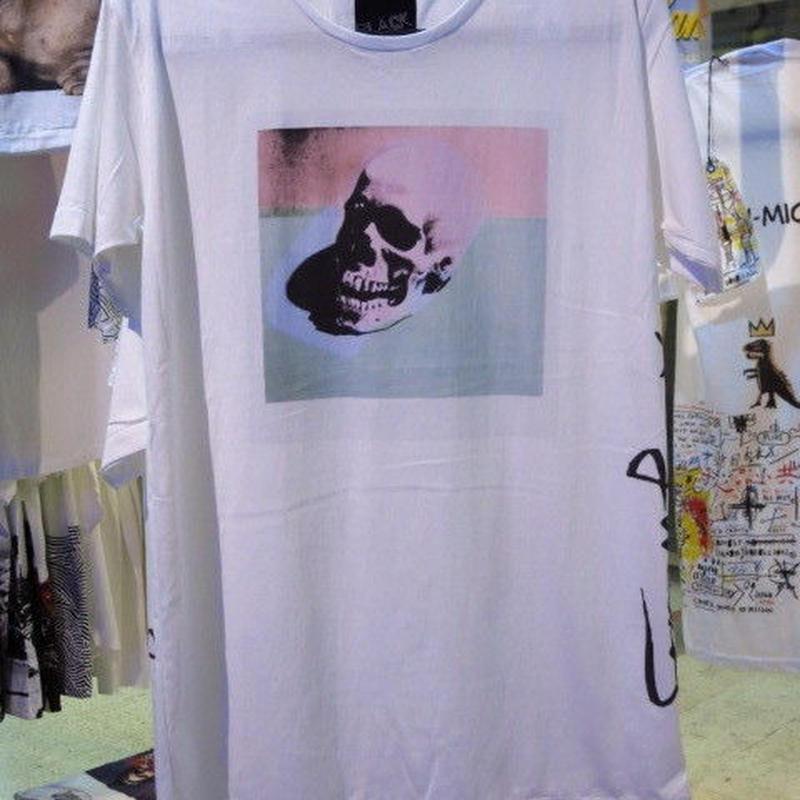 スカル Tシャツ【Black Flash by ARAINA】Mサイズ 白 アライナ 海外デザイナーTシャツ 海外アーティスト 海外クリエイター 海外ブランド ポップアート ポップデザイン 通販 販売