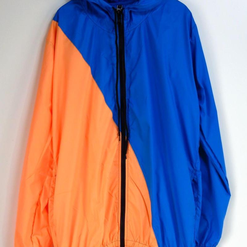 斜めツートンカラーナイロンパーカーSML オレンジ × 青 ダンス衣装 ダンサー DANCE メンズ レディース キッズダンス系 レゲエ ハウス  アウトドアウェア サイクリング ウインドブレイカー
