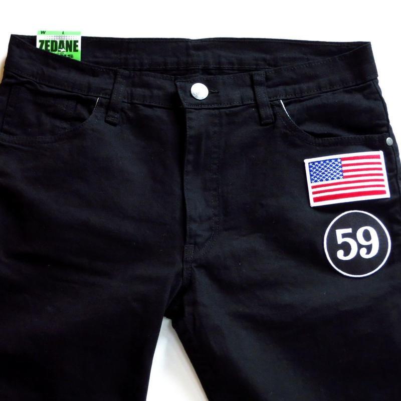 アメリカ国旗 × 59 ワッペン付きスキニーパンツ W30 W32 W34 W36 W38 W40 W42 W44 W46 W48 W50 3XL 4XL 5XLビッグサイズ