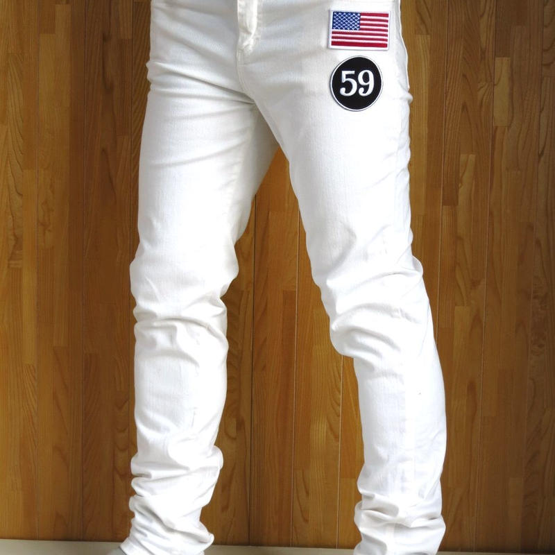 アメリカ国旗 ワッペンスキニーパンツ 白  星条旗 W30~W44 メンズ S M L XL XXL XXXL 2XL 3XL 4XL 5XL  スリムパンツ  ビッグサイズ 大きいサイズ