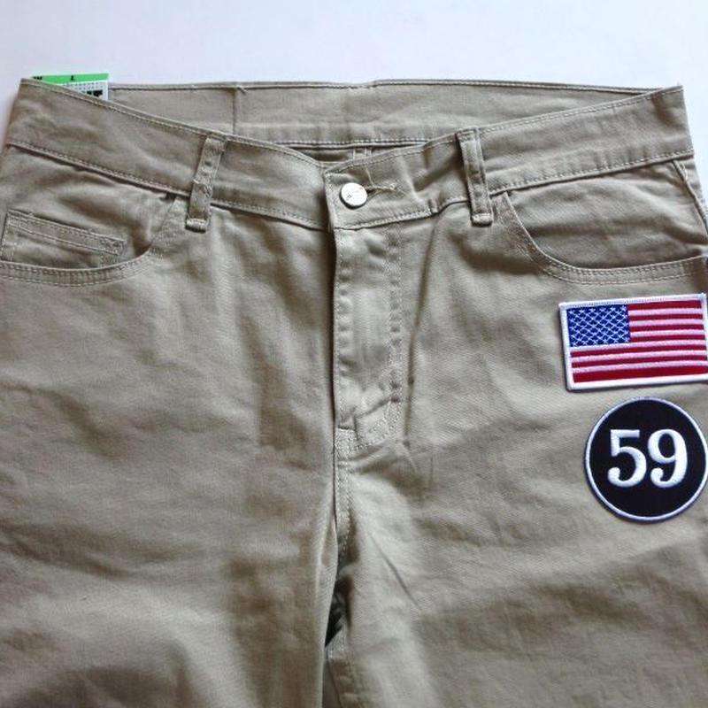 アメリカ国旗 × 59 ワッペン付きスキニーパンツ ベージュ 星条旗 W30 W32 W34 W36 W38 メンズ S M L XL XXL チノパン スリムパンツ ゴルフウェア 大きいサイズ