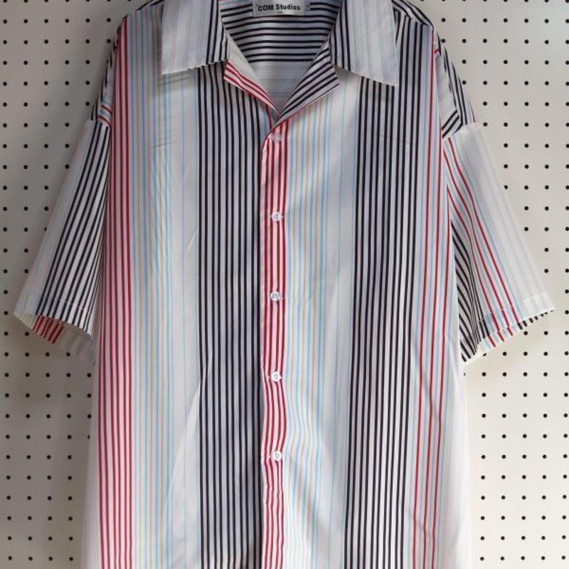 ストライプ半袖オープンカラーシャツ Lサイズ 【COM Studios】オーバーサイズシャツ開襟シャツカラフルデザインシャツドレスシャツボーダー柄メンズ