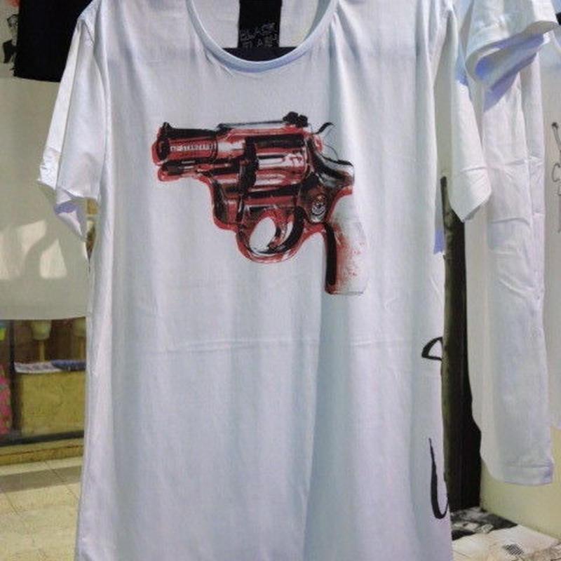 ピストル Tシャツ【Black Flash by ARAINA】Mサイズ 白 アライナ 海外デザイナーTシャツ 海外アーティスト 海外クリエイター 海外ブランド ポップアート