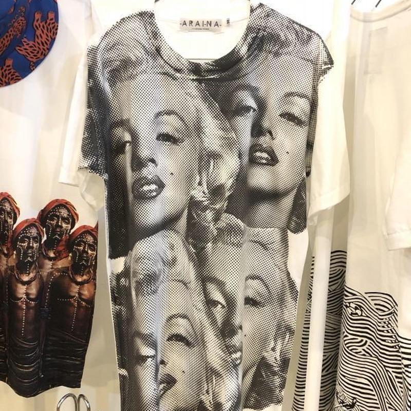 マリリンモンロ Marilyn Monroe 白黒 Tシャツ 白 Mサイズ Lサイズ【ARAINA】アートTシャツ フォトTシャツ メンズ 丸首 クルーネック