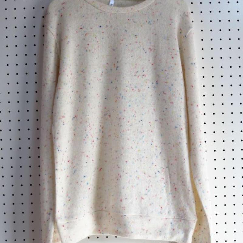 カラフルドット生地ニットオフホワイト白セーターカラフル模様メンズ