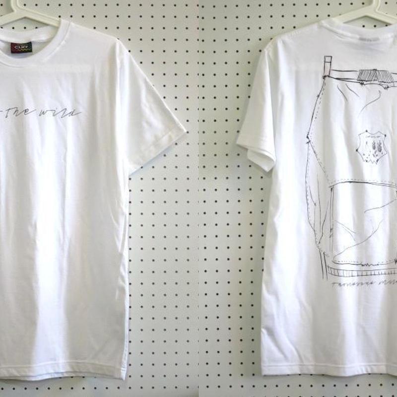 【Cliff】Into the Wildイントゥザワイルド×バックパックイラストTシャツ白Mサイズ/バックプリントアウトドアウェア登山トレッキングバックパッカー