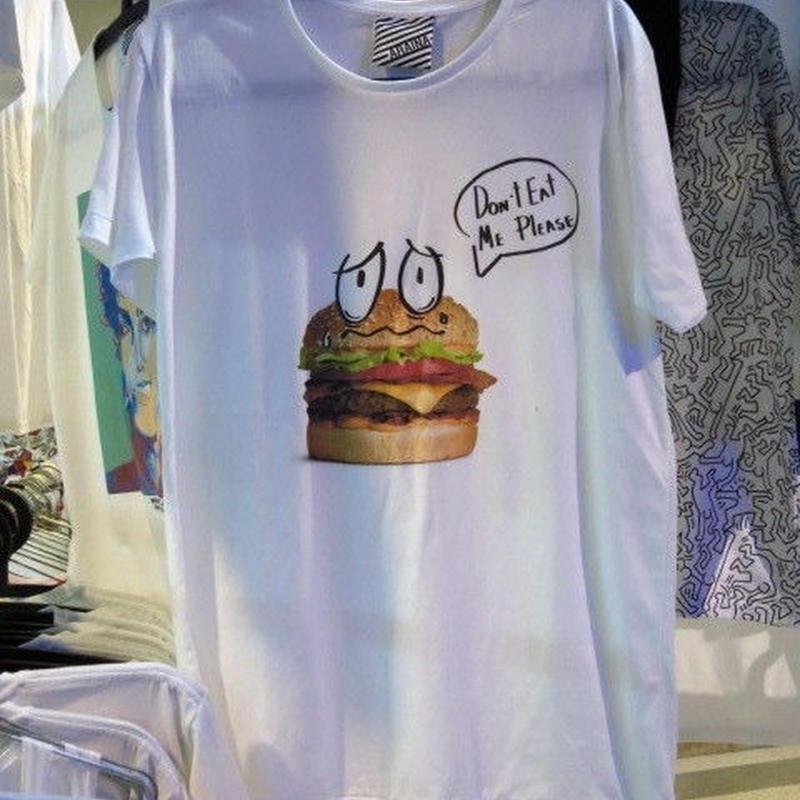 ハンバーガー Don't eat me please Tシャツ【ARAINA】Mサイズ 白 アライナ 海外デザイナーTシャツ 海外アーティスト 海外クリエイター