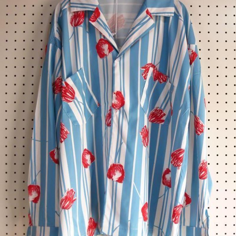 ストライプ×花柄長袖オープンカラーシャツ Lサイズ 【ARMIKA】オーバーサイズシャツ開襟シャツカラフルデザインシャツドレスシャツボーダー柄メンズ