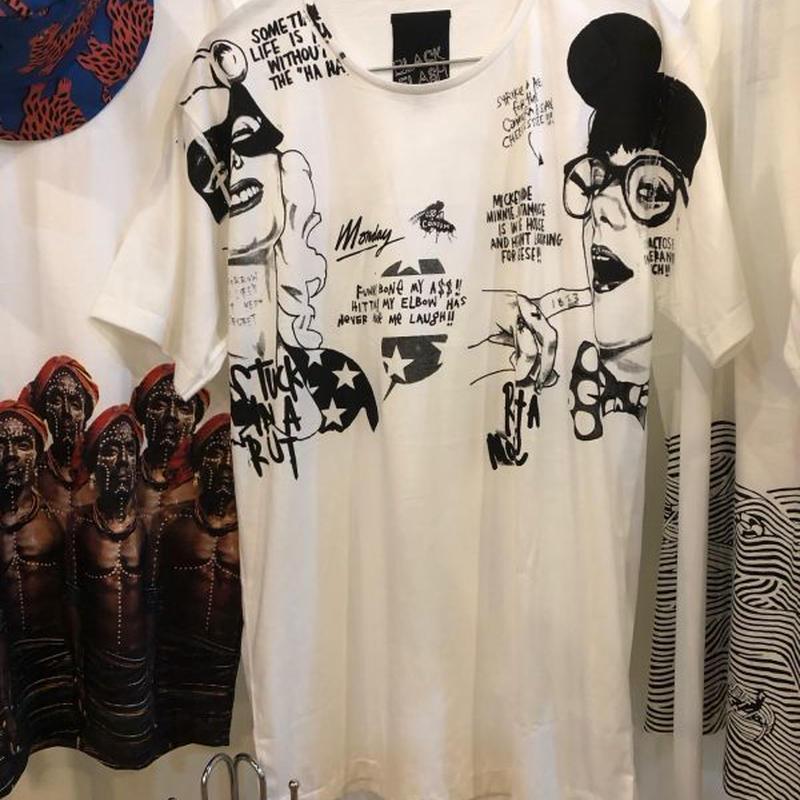 らくがき アート Tシャツ 白 Mサイズ Lサイズ【ARAINA】デザインTシャツ グラフィックTシャツ メンズ 丸首 クルーネック