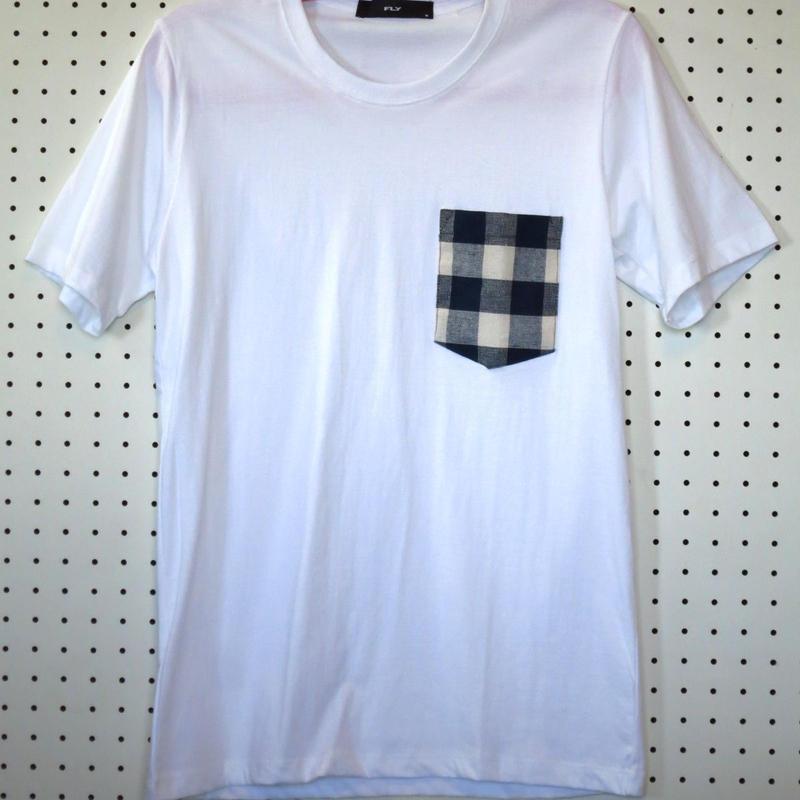 胸ポケット Tシャツ チェック柄 白 ML 胸ポケット付き 胸ポケ ポケットTシャツ ダンス サーフィン  メンズ 通販 販売 新品