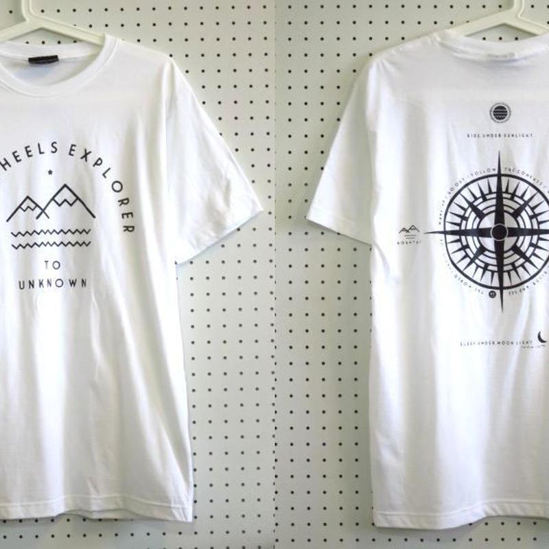 【Cliff】Two Wheels Explorer Tシャツ白Mサイズ/自転車ロードバイクピストバイクバックプリントアウトドアウェア登山トレッキングサーフィン