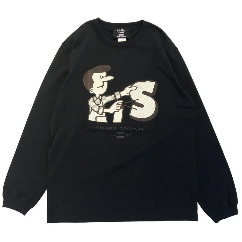【SWARM. original】 Spray Boy  L/S Tee ブラック