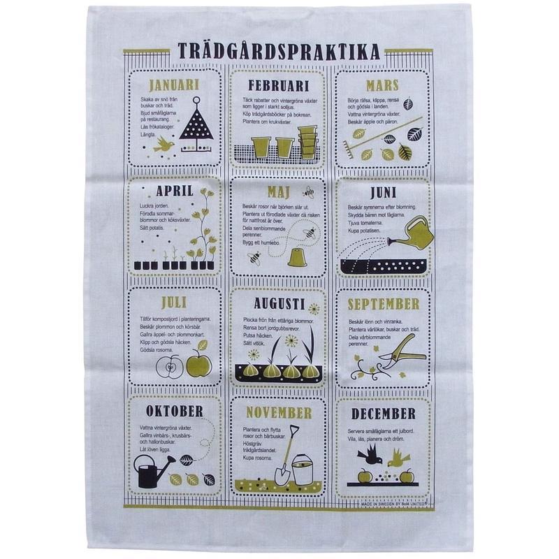 キッチンタオル  スウェーデン語でお庭仕事  綿&麻
