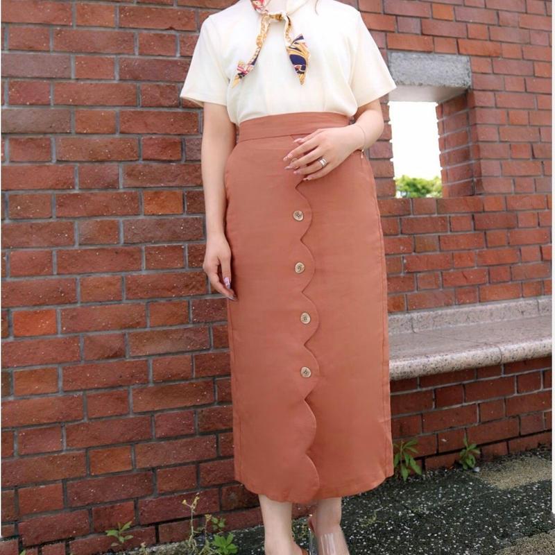 リネン混デザインタイトスカート//2colors