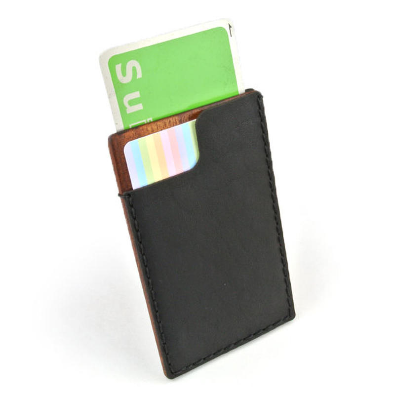 for card case 06 木と革のカード入れ