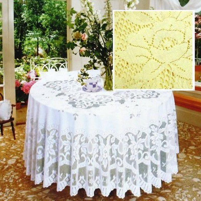 SALE 花柄カラーレース テーブルクロス 円形 3種