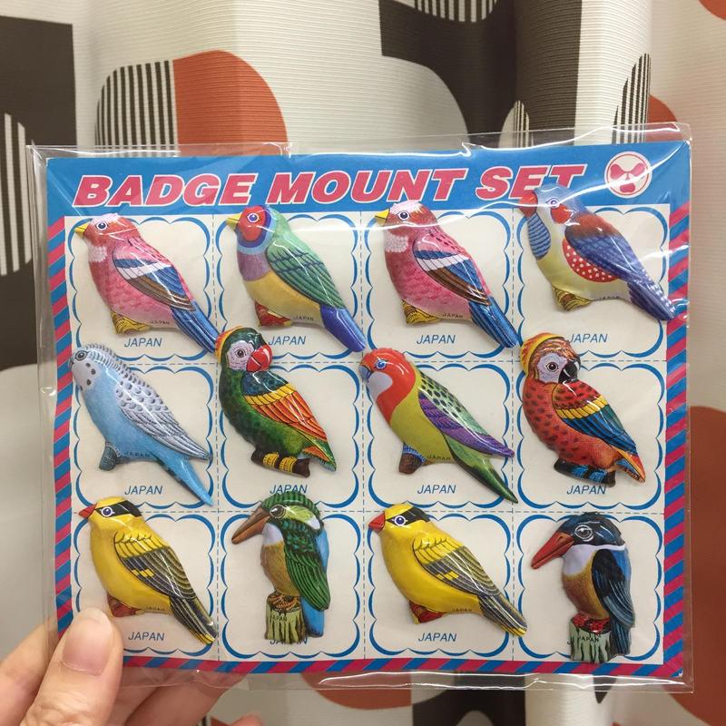 鳥 バッチ ばら【デッドストック】メイドインジャパン