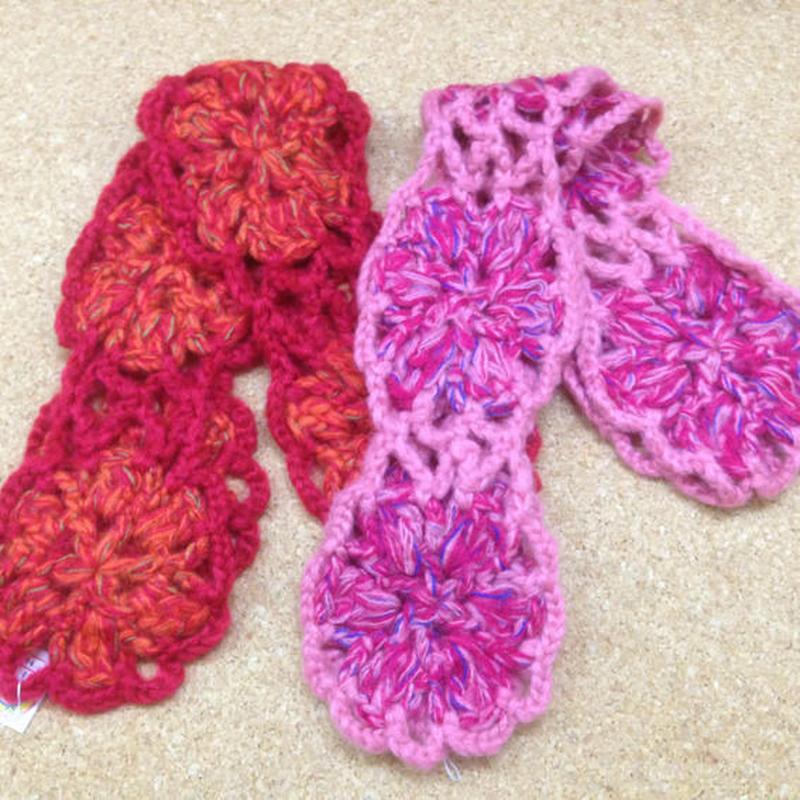 SALE 手編み 大きなお花モチーフのマフラー