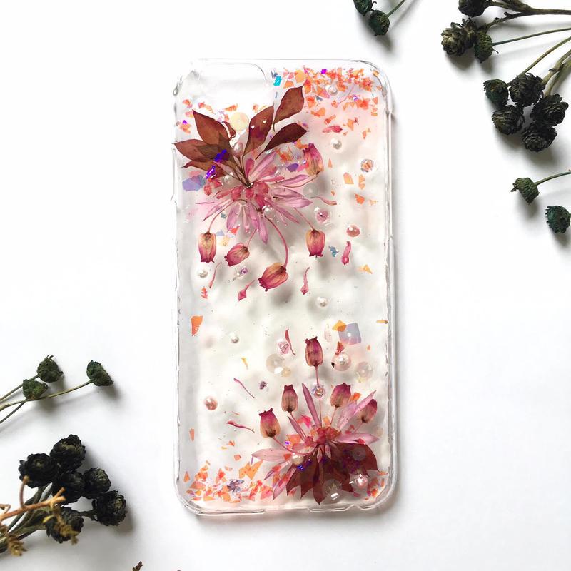 iPhone5~10対応/秋色ドライフラワーのスマホケース/red/iphone各種