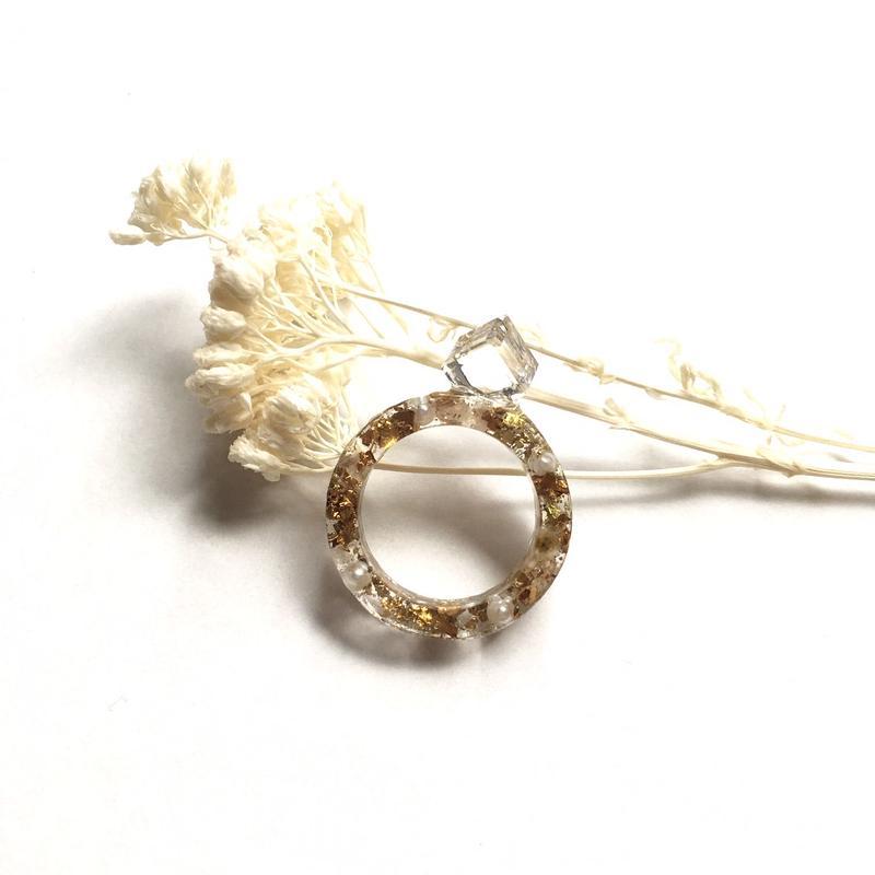 金泊と母子草の指輪